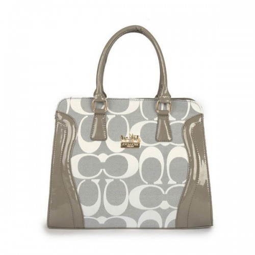 Coach Logo Signature Medium Grey Satchels DZP