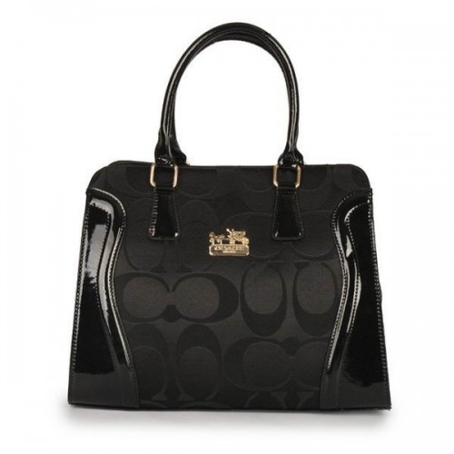 Coach Logo Signature Medium Black Satchels DZQ