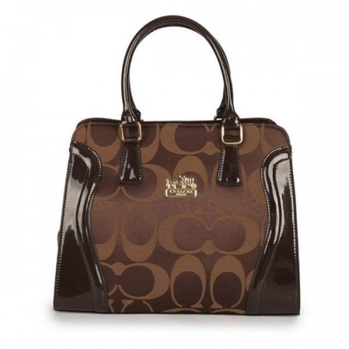 Coach Logo Signature Medium Coffee Satchels DZS