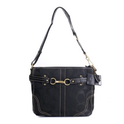 Coach Legacy Logo Signature Medium Black Crossbody Bags DZU