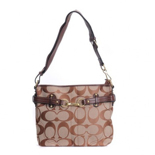 Coach Legacy Logo Signature Medium Brown Crossbody Bags DZV
