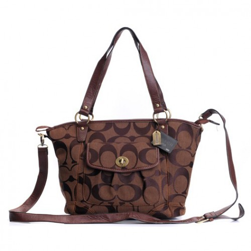 Coach Logo Signature Lock Medium Coffee Totes DZW