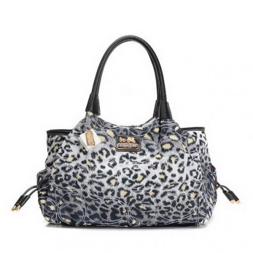 Coach Leopard Logo Medium Grey Totes EAB