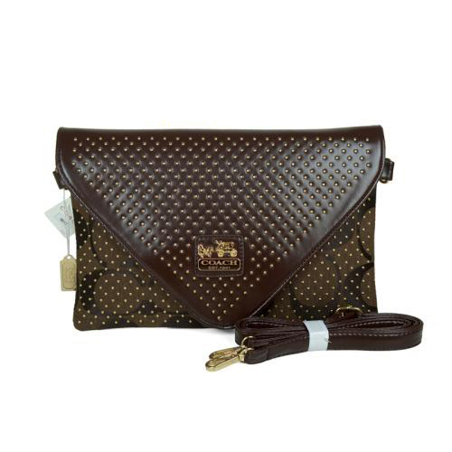 Coach Stud Logo Signature Small Coffee Crossbody Bags EAR