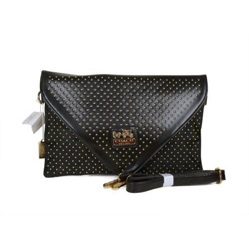 Coach Stud Logo Signature Small Black Crossbody Bags EAS