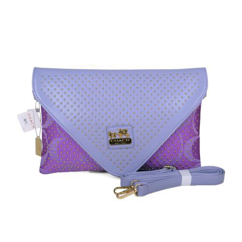 Coach Stud Logo Signature Small Purple Crossbody Bags EAV