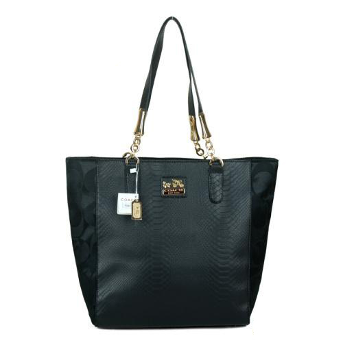Coach Madison North South Bonded Small Black Totes EAX