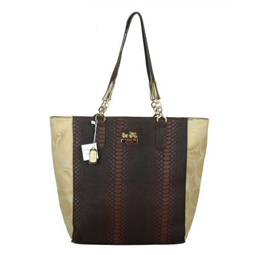 Coach Madison North South Bonded Small Apricot Totes EAZ