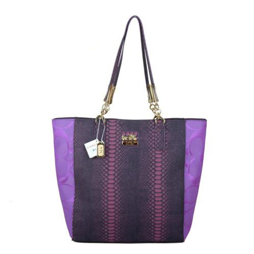 Coach Madison North South Bonded Small Purple Totes EBA